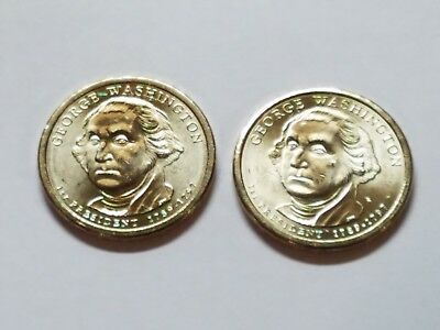 2 Coin Set Both 2007 P George Washington Presidential Gold Dollars. Denver Mint