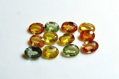 12pc NATURAL SAPPHIRE OVAL CUT LOOSE GEMSTONE LOTS yellow green orange