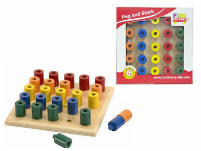 Kids Fun Factory Wooden Peg and Stack Board Educational Balancing Classic Toys