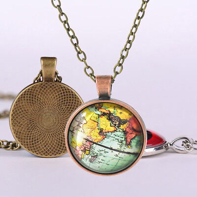Vintage Earth Map Round Necklace Choker Bronze Chain Jewelry Ornaments Fashion