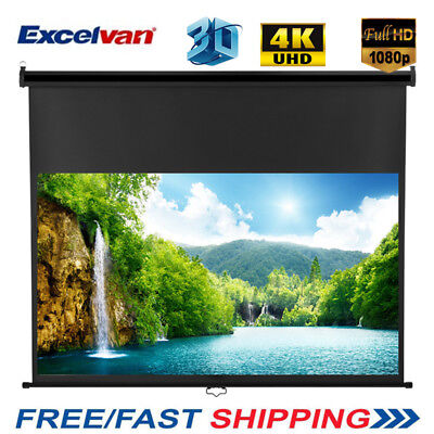 """100"""" Inch 16:9 1.2Gain Manual Pull Down Projector Screen HD Cinema Projection UK"""