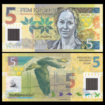 Sweden 5 Kronor, 2016/2017, Private issue Clear Window Polymer, specimen, UNC