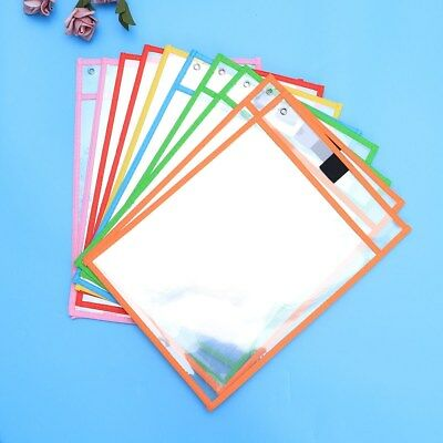 10pcs Dry Erase Pocket Sleeves Resuable Stationery for Kids Pupils