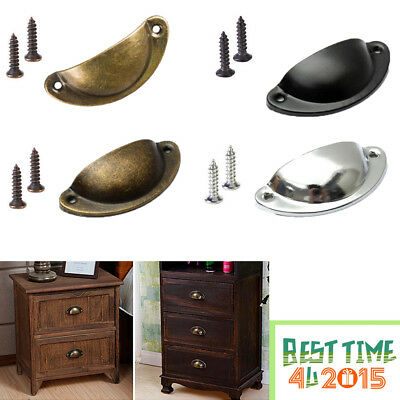 6/12 Pcs Cupboard Door Cabinet Cup Drawer Furniture Antique Pull Shell Handle UK