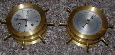 Schatz Maritime brass 8 day clock and barometer excellent condition