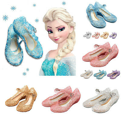 Kid Girls Frozen Princess Elsa Cosplay Dress Up Sandals Beach Party Jelly Shoes