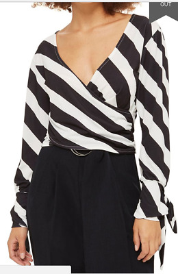 c6966b5f61d EX Topshop Humbug Tie Cuff Black   White Striped Wrap Crop Blouse Top 6 8 10