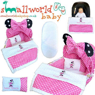 Personalised 5 Piece Moses Basket Cover Bedding Dressing Blanket Minnie Mouse