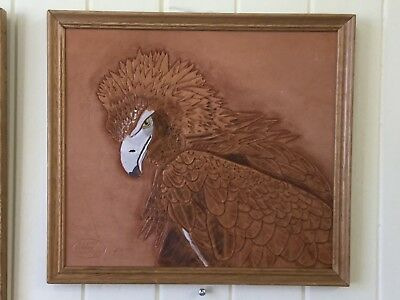 Original Framed Wedge Tail Eagle,  handcarved leather