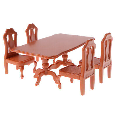 Dollhouse Miniature Dining Table with 4 Chairs, 1/12 Scale Kitchen Furniture