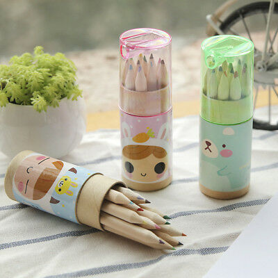 Mini Wood Painting Writing 12 Colors Pencils Pen With Sharpener for Kid