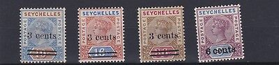Seychelles  1901     S G  37 - 40  Set Of 4    Mh 3C On 10C Small Thin