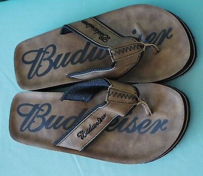 5a1994888d2 BROWN BUDWEISER FLIP Flops Size Men s 8  -  11.99