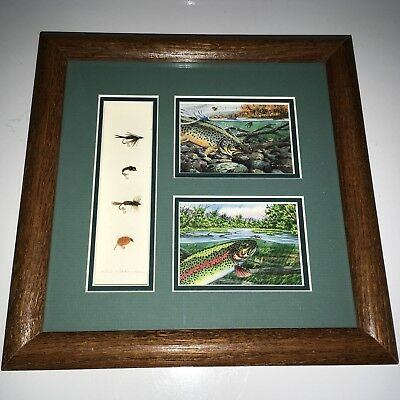 Fly Fishing Wall Art Decor. Lithograph, Plus Fly Lures. Signed By Rod  Walinchus