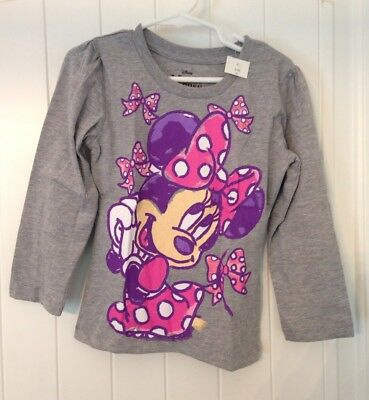 NWT Disney Minnie Mouse Long Sleeved T-Shirt Girl's Size 4T Gray, Pink, & Purple