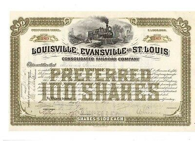 Louisville Evansville and St. Louis Consolidated Railroad 1893