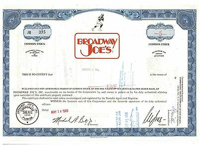 Broadway Joe's Restaurant 1969