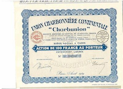 Lot: 3 Union Charbonniere Continentale  Paris 1929  Charbunion