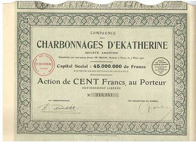 Lot: 3 Charbonnages D' Ekatherine  1929