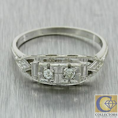 1930s Antique Art Deco Estate 14k White Gold .10ctw Diamond Band Ring