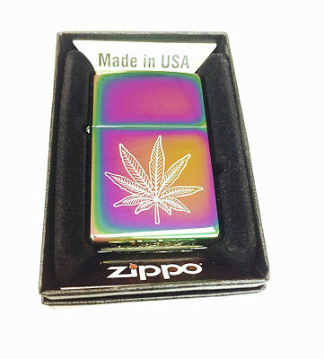 Zippo Custom Lighter Weed Pot Ganja Leaf Marijuana Spectrum New in Box Gift