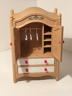 Vintage Tomy Dollhouse Furniture Armoire W/ 3 Hangers Bedroom 1:16 #23