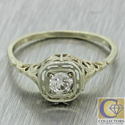 1930s Antique Art Deco Filigree 14k White Gold Diamond Solitaire Engagement Ring