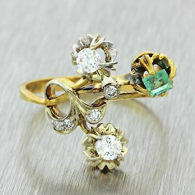 1940s Vintage Art Deco Style 18k Solid Yellow Gold .25ct Emerald Diamond Ring