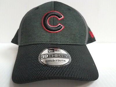 the best attitude 0971a f5ab4 YOUTH Chicago Cubs Cap New Era 39Thirty Stretch Fit Black NE17 Clubhouse Hat