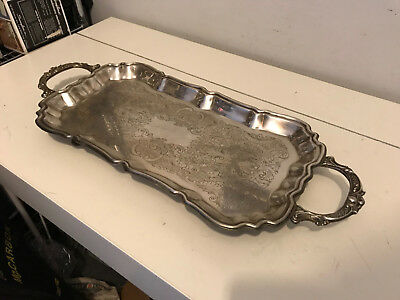 Vintage Silver Plate Footed Serving Tray - English Silver MFG. Corp. by Leonard