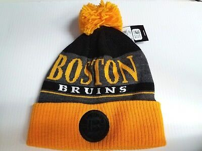 75b9a9abe Boston Bruins Adidas Knit Hat Heathered Block Beanie Cuff Pom Stocking Cap  NHL