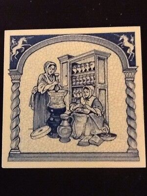 """Blue And White Delft Tile 6""""x6"""" Women  Pharmacists Vintage Picture Drugstore"""