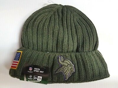 8f57a37a6 YOUTH Minnesota Vikings New Era Knit Hat 2017 Salute to Service Stocking Cap  NFL