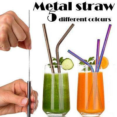 4Pcs Stainless Steel Drinking Metal Straw Reusable Bar Straws Cleaner Brush Kit