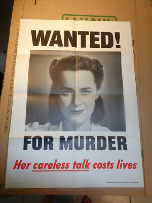 """Original 1944 WWII Poster """"Wanted For murder - Her Careless Talk Cost Lives"""""""
