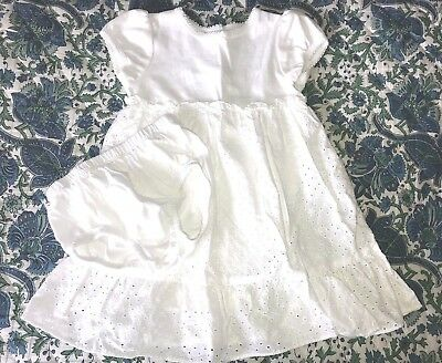 Carters Baby Girl White Dress Diaper Cover Euc 18 Months Wedding