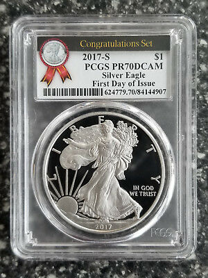 2017-S Proof Silver American Eagle PR70 First Day Issue Congratulations Set PCGS