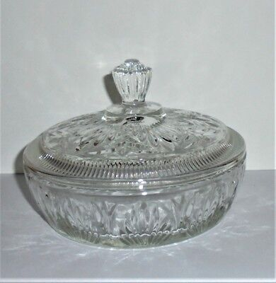 PERFECT Vintage AVON Pressed Clear GLASS BOWL w/LID POWDER Vanity DISH Nut Candy
