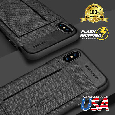 For iPhone X Phone Case ID Card Slot Wallet Leather kickstand Slim Armor Cover