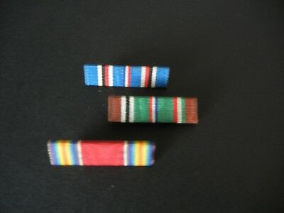Vintage Military Lot Of 3 Ww2 U.s. Pins Back Ribbons On Bars