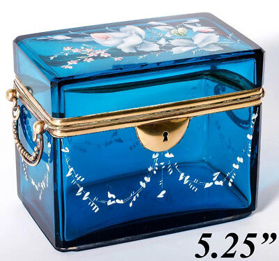Lovely Antique French Sugar Casket, Box, Electric Blue Glass, HP Enamel Flowers