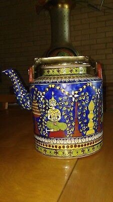 Lg Vintage Japanese Oriental Asian Hand Painted Lidded Teapot With Brass Handle