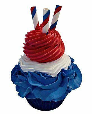 Fake Cupcake Red White & Blue Indepence Day Cupcake 4th July Prop Decoration