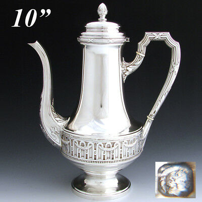 """Antique French 10"""" Sterling Silver Coffee or Tea Pot, Classical or Empire Style"""