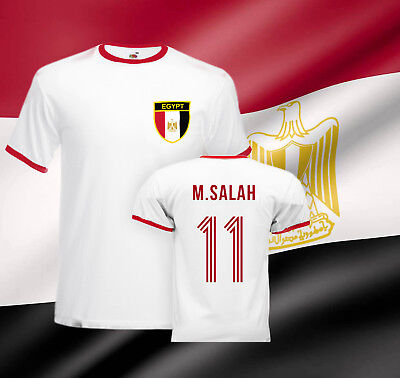 Mohamed  Salah Egypt  Football Ringer T-shirt  Liverpool  Retro Soccer