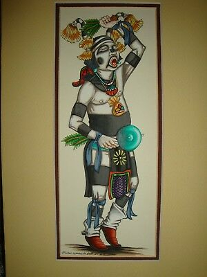 "Hopi Tewa Clown ""Koshara"", Acrylic by Hopi artist,  Richard Gorman, signed"