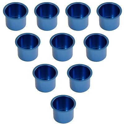 Set of 10 Blue Jumbo Aluminum Drop In Cup Holders For Poker Table and Boat