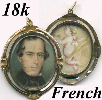 Antique Victorian 18k Gold French Locket with Portrait Miniature, Orig Box Case