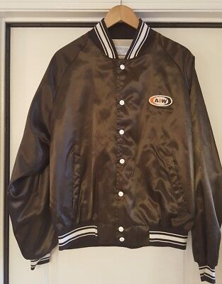 Vintage A&W Rootbeer Nylon Jacket  Brown and White Made by UPSTREAM in the USA