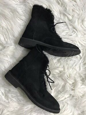 51ff4bfdcc4 UGG QUINCY CHESTNUT Suede Sheepskin Lace up Ankle Boots Shoes US 7.5 ...